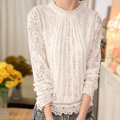 Fashion Summer Womens Loose Casual Long Sleeve Lace Shirt Blouse .