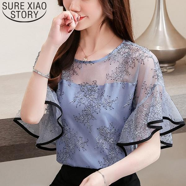 Fashion women blouse and tops 2019 white blouse shirts ladies tops .