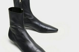 Zara Shoes | Flat Leather Ankle Boots With Toe Cap Detail | Poshma