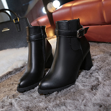Women's Black Engineered Leather Ankle Boots with Straps and Buckl