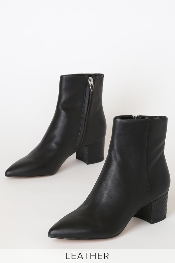 Dolce Vita Bel - Black Leather Ankle Boots - High Heel Booti