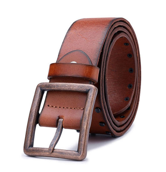China 2019 Fashion Design Mens Vintage Rivets Brown Leather Belts .