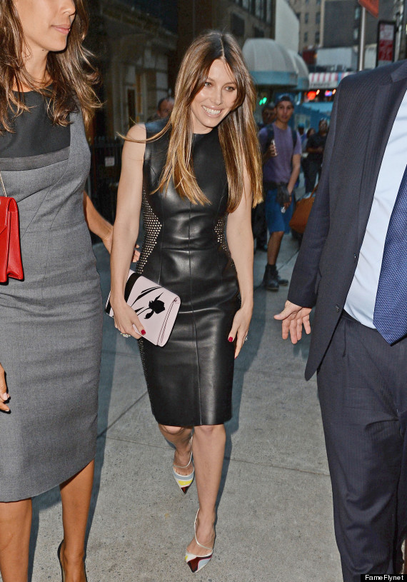 Jessica Biel In A Leather Dress Is Why Leather Dresses Exist .