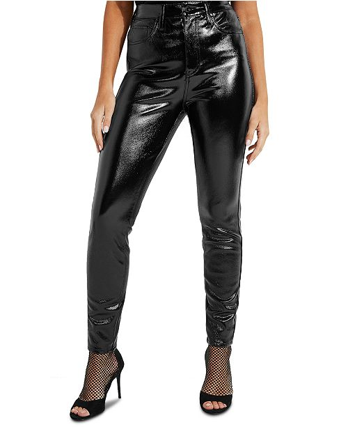 GUESS Petra High Rise Faux-Leather Jeans & Reviews - Jeans .