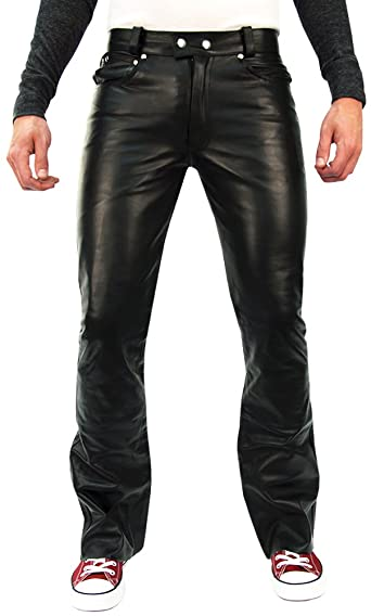 Bockle® 1970 Butcut Men Leather Pants Trouser Tight Leather Jeans .