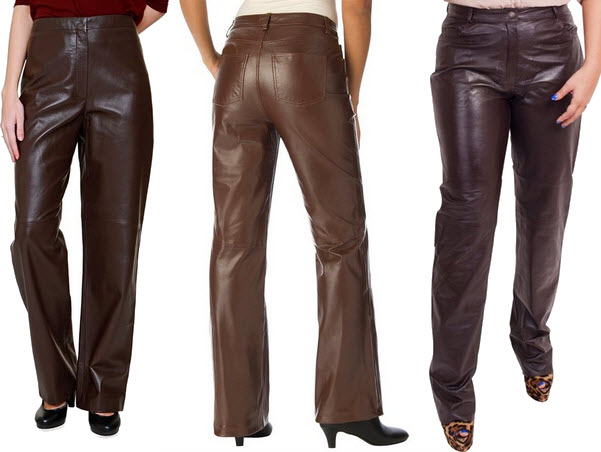 womens brown leather pants – ChoozO