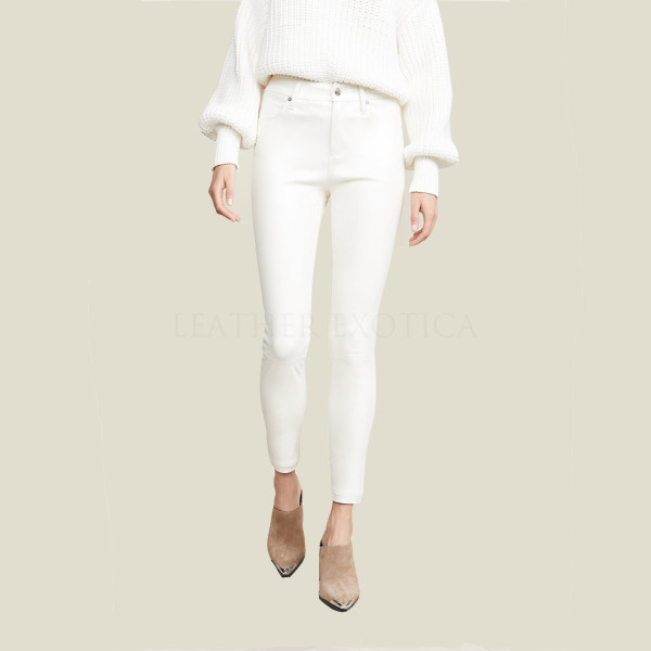 Button At Waist Women White Leather Pants – Leatherexoti
