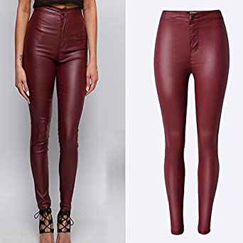 BlingNicer Cozy;Fashion Biker Faux Leather Pants Women New High .