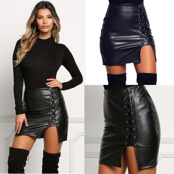 Sexy Black Lace Up PU Leather Skirts Springn Womens Side Slit .
