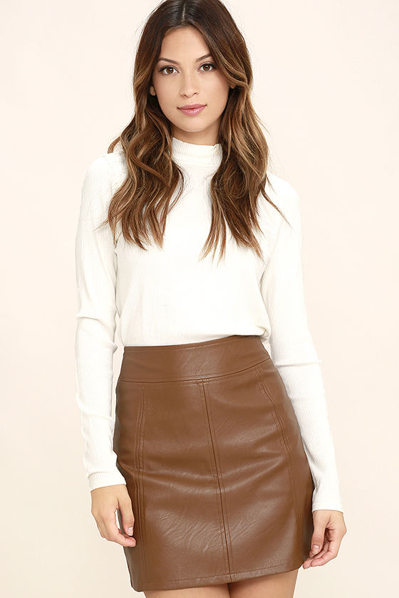 Chic Brown Skirt - Vegan Leather Skirt - Mini Skirt - $48.