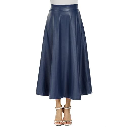 Navy Leather Skirt: Amazon.c