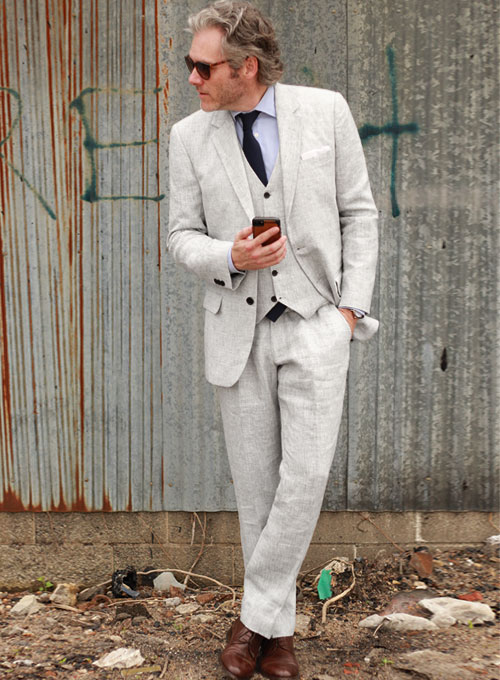 Italian Pacifico Linen Suit- Ready Size : StudioSuits: Made To .
