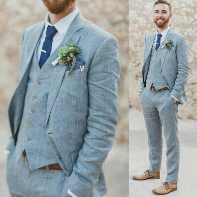 Men's Lake Blue Linen Suits Groom Groosman Wedding Tuxedos 3 Piece .
