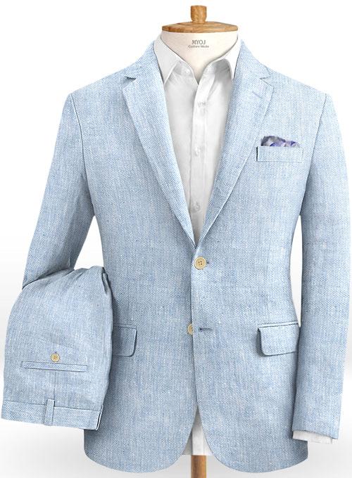 Italian Herringbone Blue Linen Suit : MakeYourOwnJeans®: Made To .