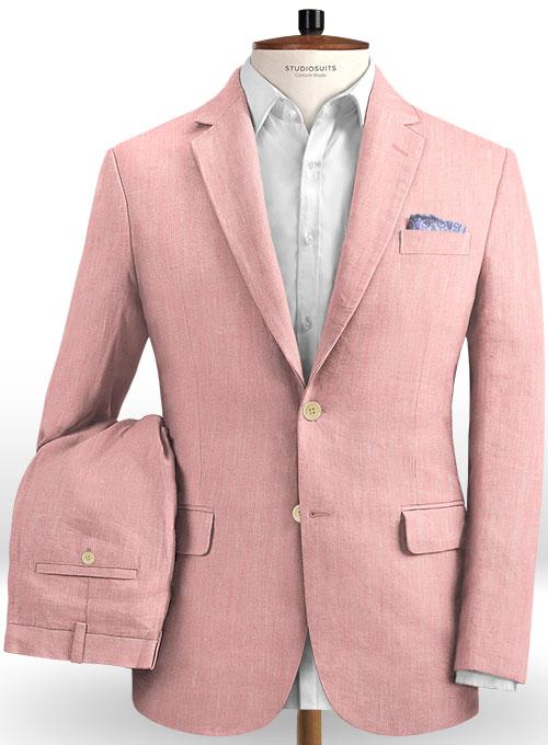 Roman Light Pink Linen Suit : StudioSuits: Made To Measure Custom .