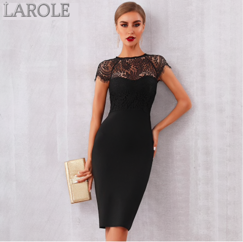 Elegant Midi Bodycon Little Black Dress - Available in Black .