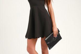 Black Dress - Halter Dress - Backless Dress - Scallop Dre