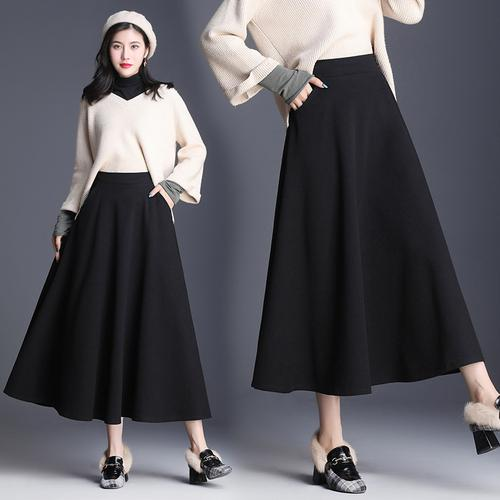 2020 New Korean High Waist Black Long Black Skirts Artistic .