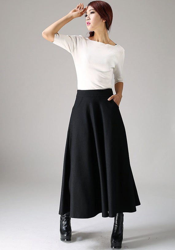 Black skirt wool skirt long skirt womens skirts winter | Et