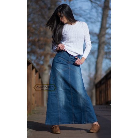 "Alsharifa - 41"" LONG DENIM SKIRT - WOMENS PLUS SIZE DENIM SKIRTS ."