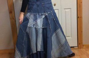 Long Denim Skirt/Long Jean Skirt/Denim Maxi by sewsomer on Etsy .