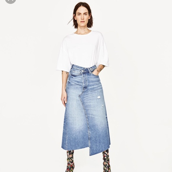 Zara Skirts | Long Denim Skirt Only Wore It Once | Poshma