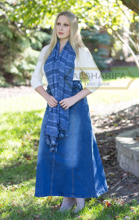 Long Denim Skirt, Tall Skirt, Denim Skirts Knee Length, Islamic .