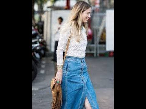 Long denim skirts outfits 2018 - YouTu