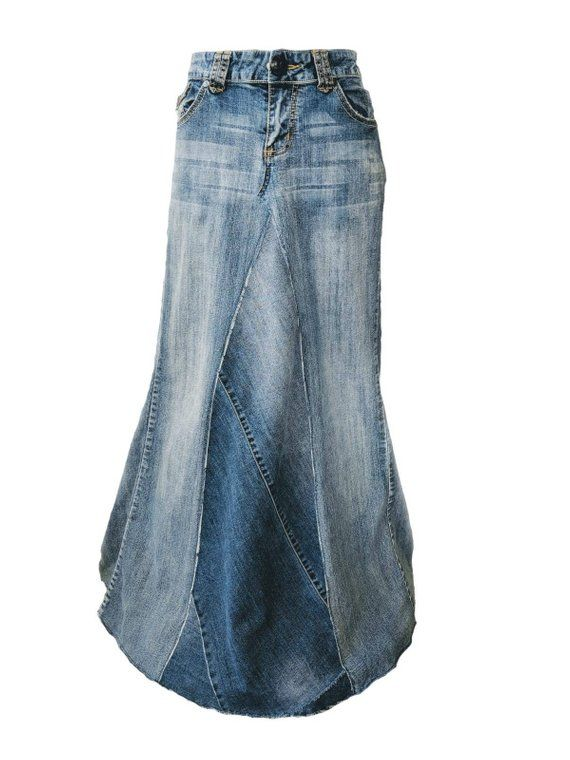 Long Denim Skirt with Train by Whimsical Jean Skirts Perfect .