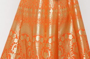 Woven Banarasi Art Brocade Silk Long Skirt in Orange : BNJ6
