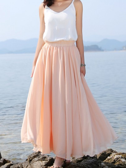Pink Patchwork Pleated High Waisted Tulle Tutu Flowy Chiffon Solid .