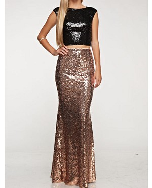 Sequins Long Skirt, Black Sequins Long Skirt, Gold Sequins Long .