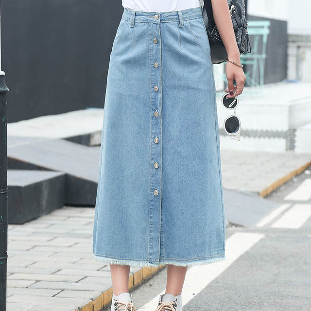 2018 Women Long Denim Skirt Femme Casual Loose High Waisted Single .