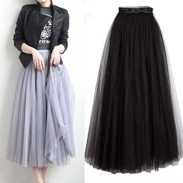 Three-layer Fashion Tulle Skirts Women Summer Elastic High Waist .