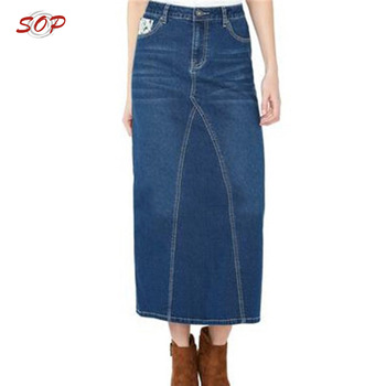 Women Wholesale Elegant Long Jean Denim Skirts - Buy Long .