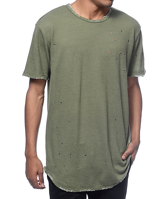EPTM. Dubai OG Distressed Olive Long T-Shirt | Zumi