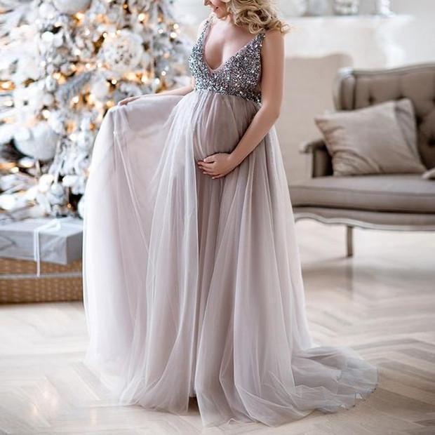 2020 Maternity Dresses For Photo Shoot V Neck Sequins Design .