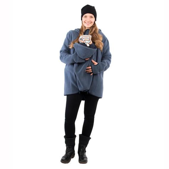 3in1 Babywearing jacket belly to baby fleece in steel-blue | Et