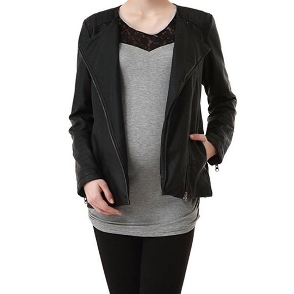 Momo Maternity Jackets & Coats | Black Maternity Leather Jacket .