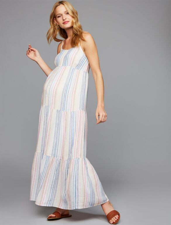Splendid Button Detail Maternity Maxi Dress | Motherhood Materni