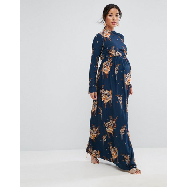 ASOS Maternity Maxi Dress with Long Sleeve in Chinoiserie Print .