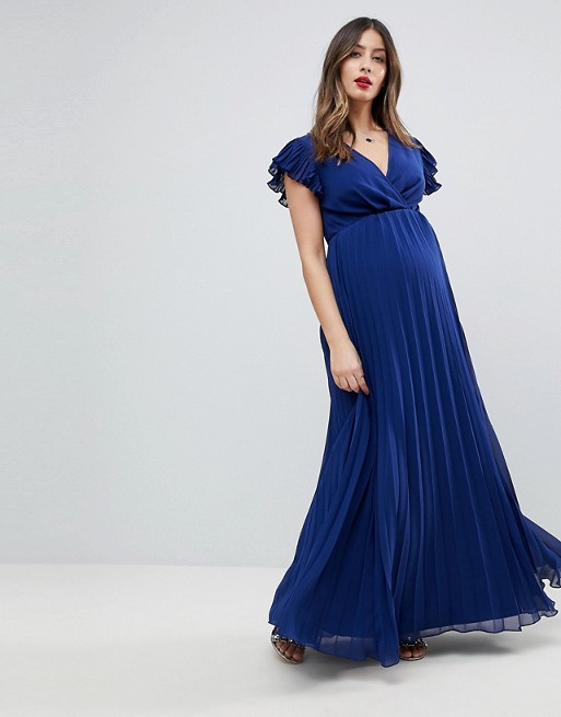 ASOS Maternity Pleated Maxi Dress with Flutter Sleeve | AS
