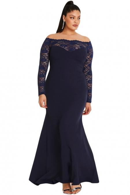 Navy Blue Lace Off The Shoulder Plus Size Maxi Dress mb611003-5 .
