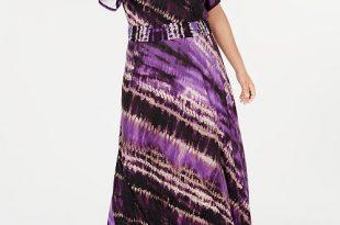 INC International Concepts INC Plus Size Tie-Dyed Maxi Dress .