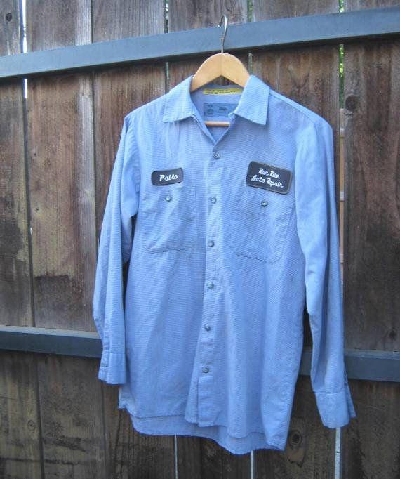 Cool Vintage Blue Auto Mechanic Shirt w/ 'Pablo' name & Run Rite .