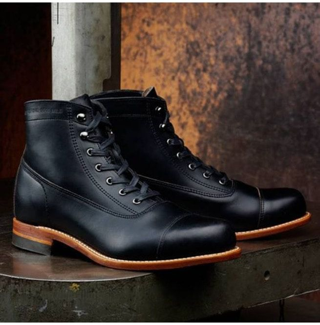 Handmade Men Black Real Leather Ankle Boot, Mens | RebelsMark