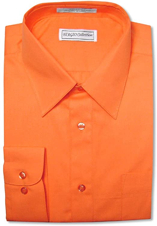 Biagio Men's 100% Cotton Solid Burnt Orange Dress Shirt w .