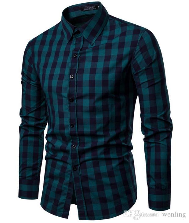 2020 NEW Men Shirt Long Sleeve Mens Shirts Casual Slim Fit Men .