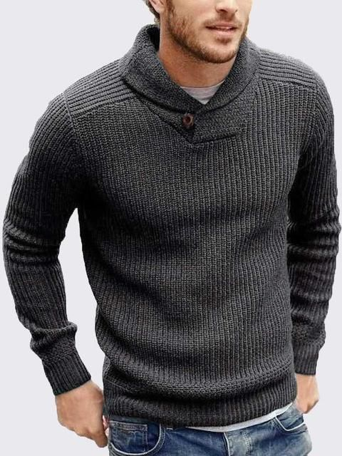ASHORESHOP 2019 Fall Cowl neck knitted men sweater pullover cable .