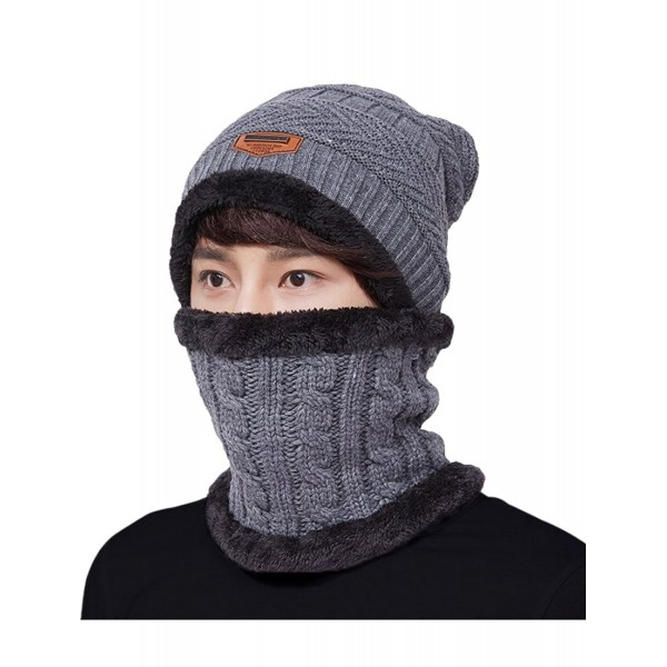 Men's Beanies Hat Thick Knit Skull Cap Scarf Set Warm Knit Hat .